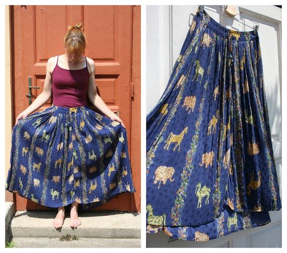 Indian Skirt for Women • Boho Skirt • Blue Skirt •