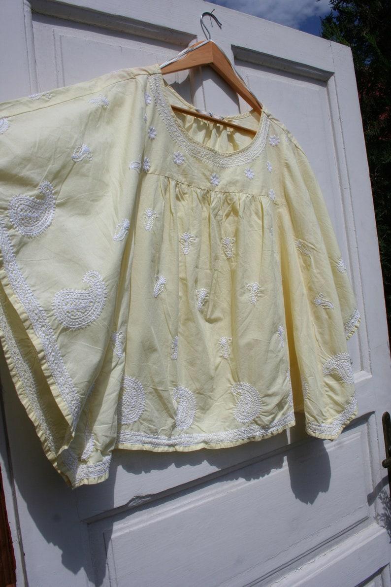 Vintage Hippie Caftan Top Women SM \u2022 Vintage Corn Yellow Caftan \u2022 Yellow Hippie Shirt Women \u2022 Embroidered Summer Blouse \u2022 Batwing Top SM