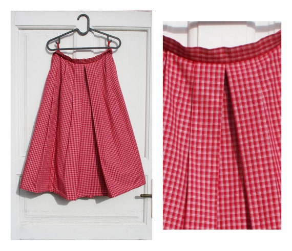 Red Plaid Circle Skirt S • 80s Skirt • Vintage Mid