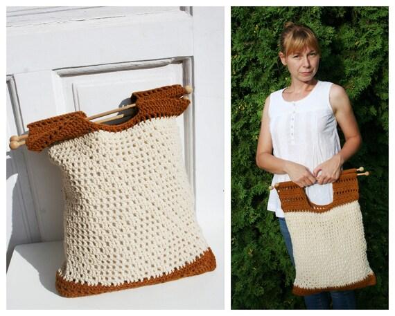 Vintage Crochet Shopping Bag • Vintage Tote Bag •