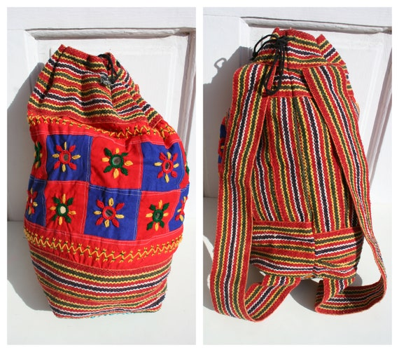 Vintage Backpack Women • Indian Woven Backpack •