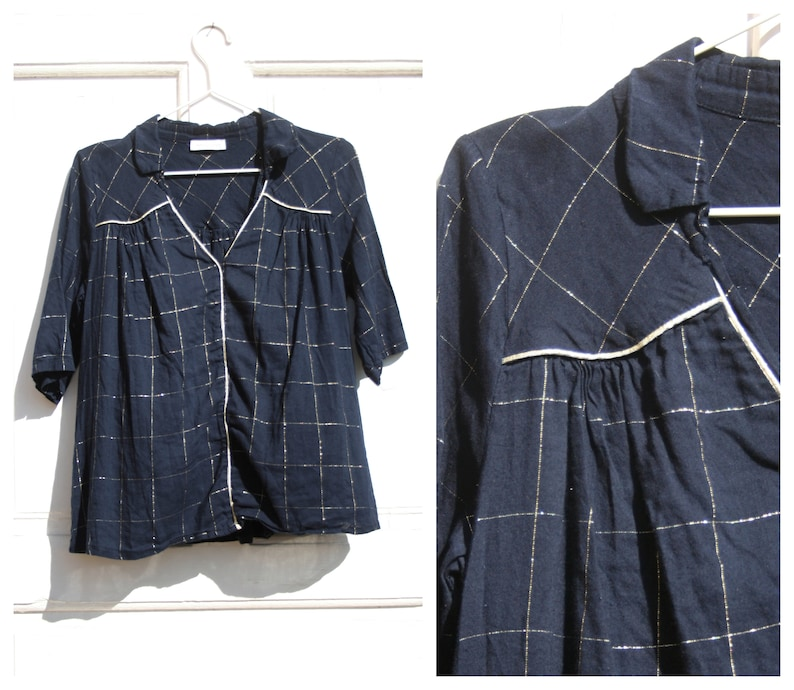 Vintage Festive Blouse Half Sleeves M \u2022 Dark Blue Cotton Shirt with Golden Rims \u2022 Vintage Top Women Business Casual Clothing Go-to-meeting