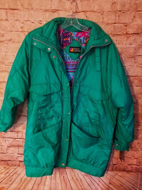 Vintage 80's 90's ANDY JOHNS Women's Teal Winter P