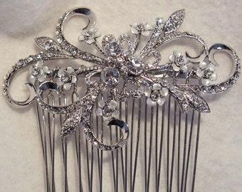 DISCOUNTED Bridal Comb ~ Swarovski Crystal ~ Rhinestone ~ Vintage Bridal ~ Enamel Flowers ~ Bridesmaids ~ HEADPIECE HEAVEN