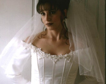 DISCOUNTED Bridal Veil ~ Light Ivory ~ 2-Layer ~ Pencil Edge ~ Wrist Length ~ Comb ~ Limited Quantities ~ Wedding Veil ~ FREE SHIPPING