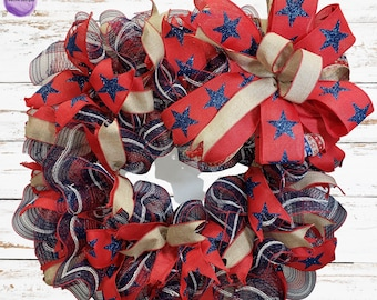 Patriotic Summer Wreath, Memorial Day,  Labor Day, Veterans Decorations