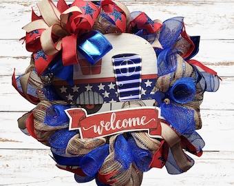 Patriotic Camper Wreath Decor, Memorial Day, Labor Day,Fourth of July