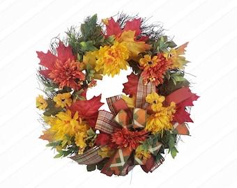 Fall Mum Grapevine Wreath, Twig Leaf Wreath, Fall Door Hanger