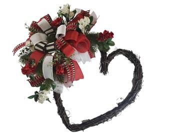 Heart Grapevine Wreath, Wreath for front Door.