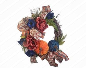 Fall Pumpkin Grapevine Wreath, Twig Pumpkin Wreath, Fall Door Hanger