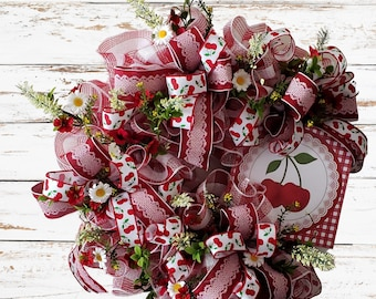 Spring Red Cherry Grapevine Wreath,  Farmhouse Wreath for Mom, Twig Wreath for Front Door