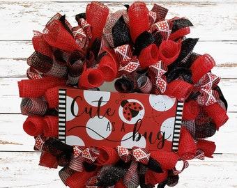 Ladybug Spring Wreath Door Hanger, Summer Wreath for Front Door