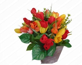 Spring Tulip Floral Arrangement, Side Table Décor
