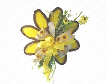 Sunflower Floral Door Hanger, Sunflower Fall Wreath, Twig Wreath