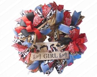 Cow Paisley Bandana Farmhouse Wreath, Hay Girl Hay Wreath for Front Porch, Burlap Wreath