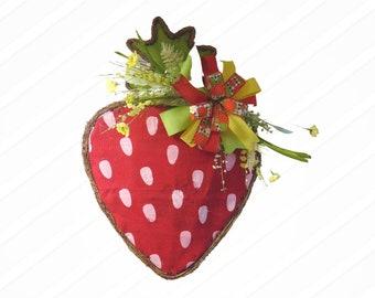 Strawberry Twig Door Hanger,  Strawberry Summer Wreath