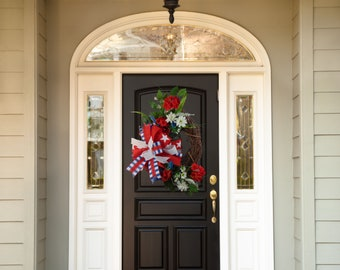 Patriotic  Grapevine Wreath, Memorial Day, Fourth of July, Labor Day