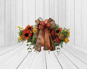 Fall Door Hanger Wreath, Pumpkin Decorations, Grapevine Wreath