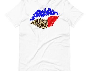 Patriotic Lips Shirt, 4th of July Shirt, Summer Shirt