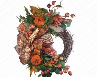 Orange Fall Wreath, Fall Berry Wreath, Simple Fall Wreath,