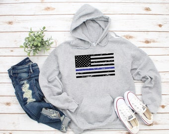 Boys Stylish Long Sleeve Crew Neck Cotton Pennsylvania State Thin Blue Line Flag Tee Top for Youth