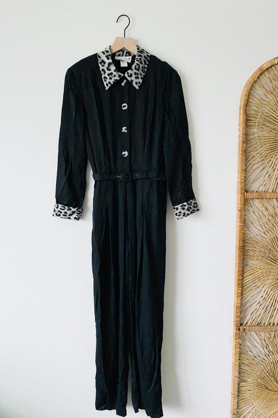 NEW! 80s Vintage Black + Leopard Jumpsuit