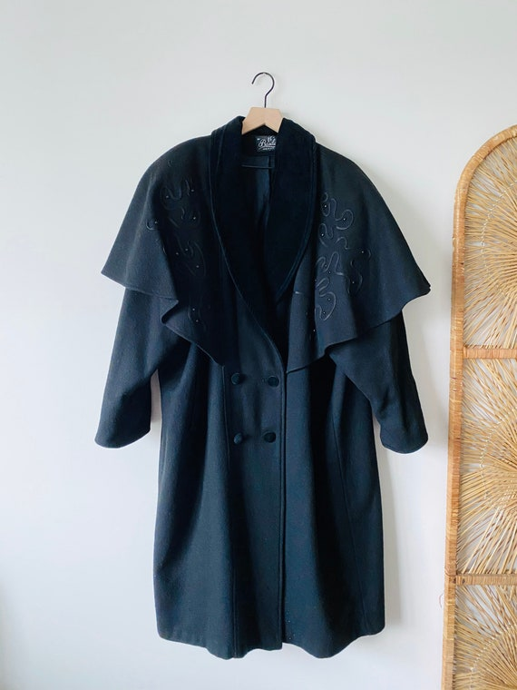 NEW! 60s Vintage Black Wool Caped Pea Coat