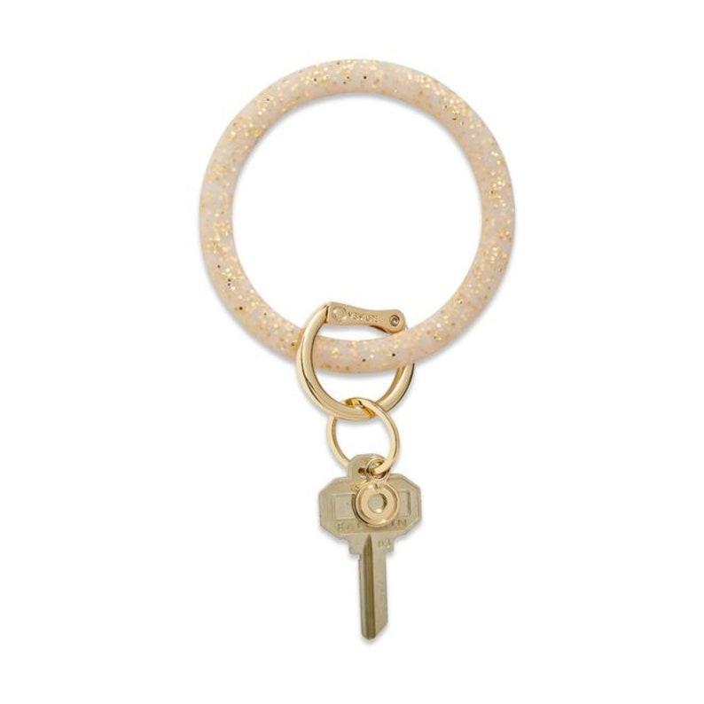 Gold Key Chain Wristlet Key Holder Glitter Silicone Bangle Bracelet Keyring