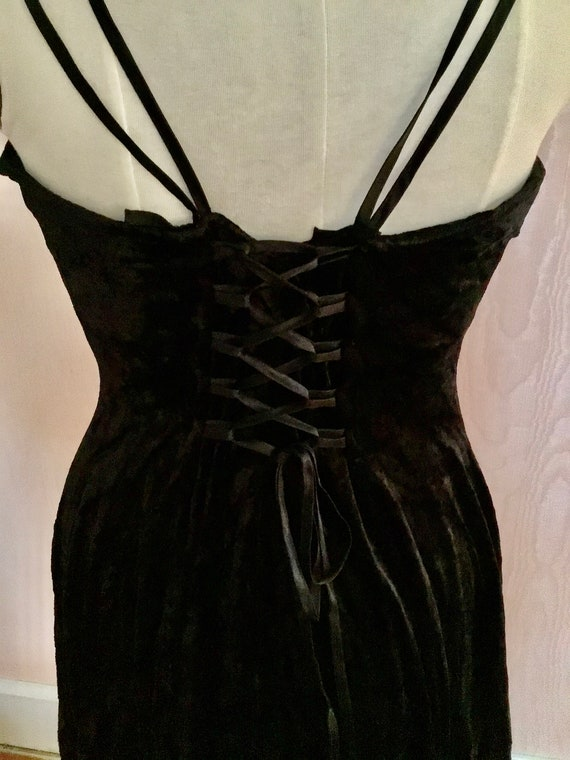 Super Sexy 1990s Express  Black Velvet Slip Dress - image 6