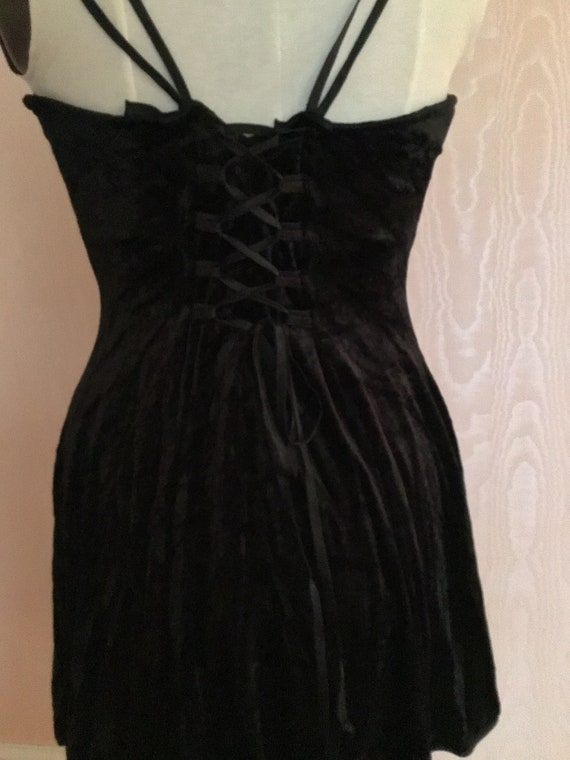 Super Sexy 1990s Express  Black Velvet Slip Dress - image 7