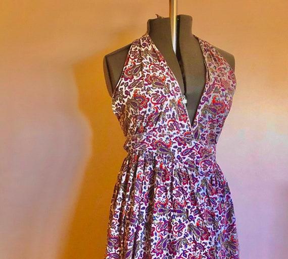 Perfect 1940s linen summer print vintage halter dress