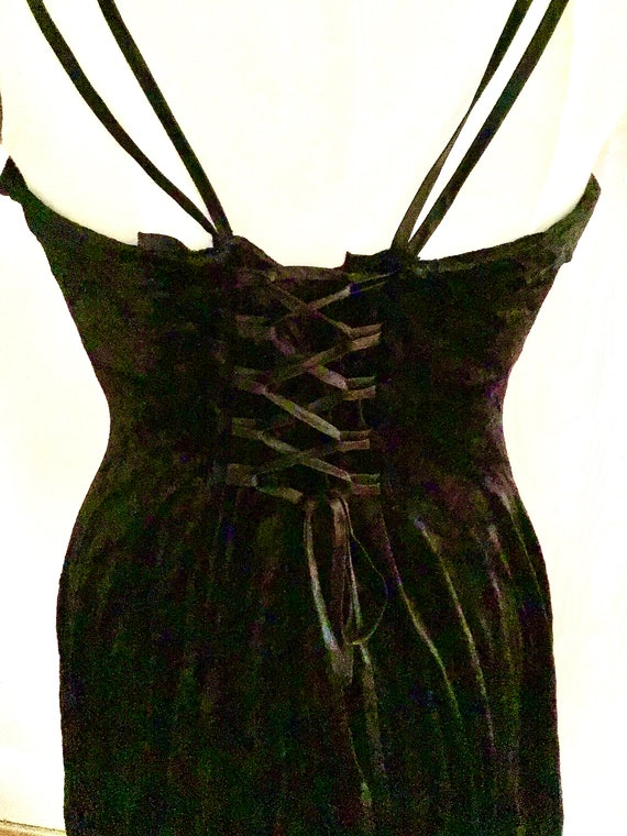Super Sexy 1990s Express  Black Velvet Slip Dress - image 5