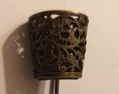 VINTAGE brass old hat foulard tie pin hatpin antique 5cm