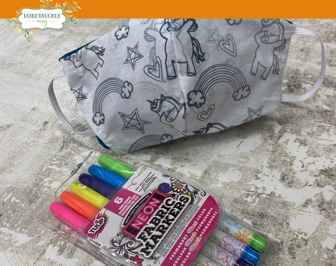 Featured listing image: DIY Color Your Own Face Mask for Kids | Fabric Markers Included | Triple layered Cotton mask with Elastic | Reusable | Freebie included