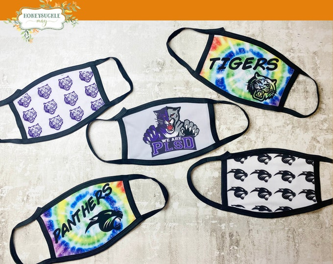 Featured listing image: PHSN/PHSC School Spirit Masks With Matching Mini Pouch/Bag/Pochette Set | Ear Saver included |  Mask with key chain mini Bag | reusable mask