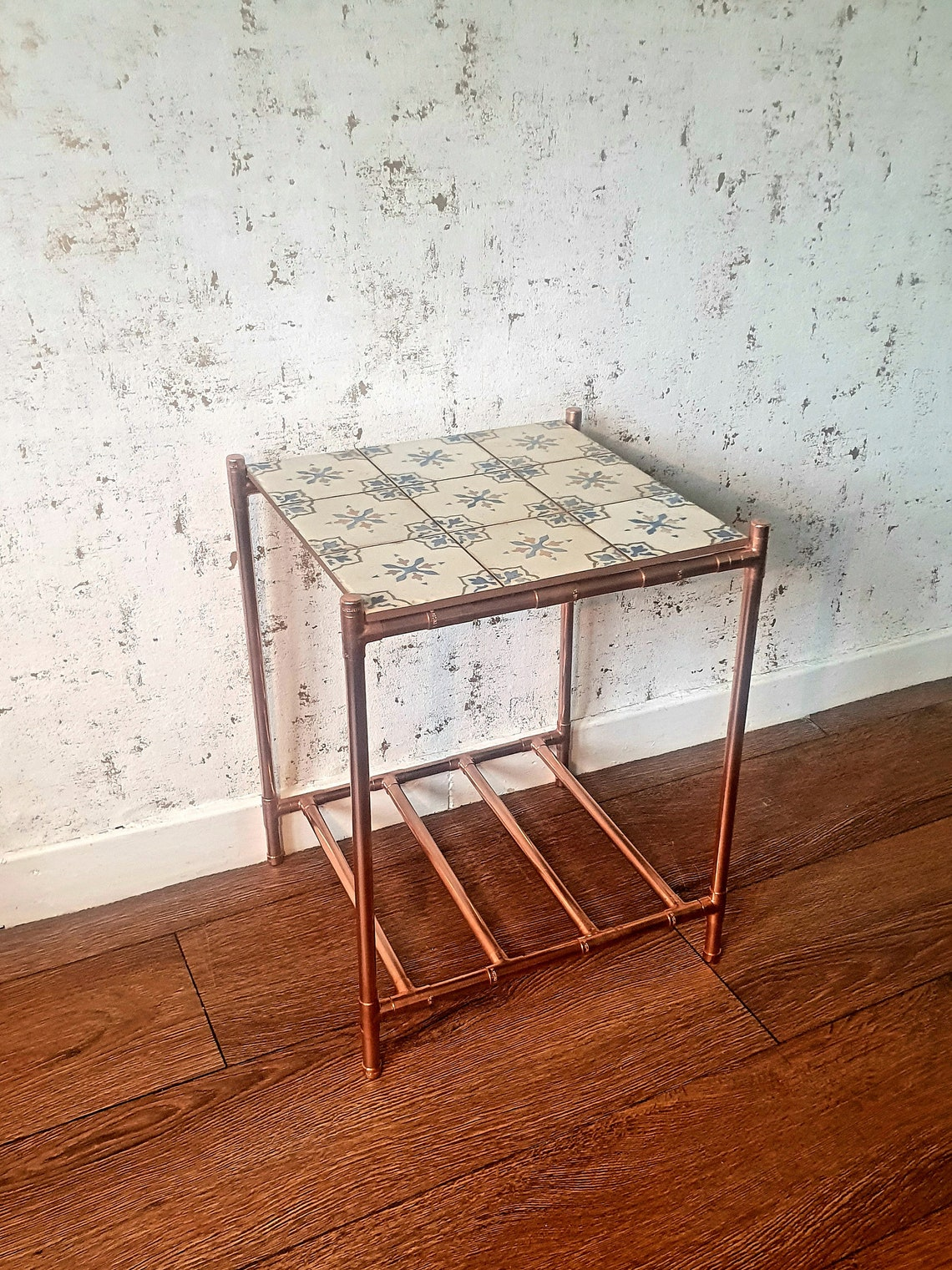 Copper Industrial Coffee / Side Table with a vintage cream, blue & orange floral patterned ceramic tile