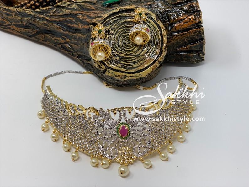 Peacock Motifs CZ Stones Choker Necklace Set