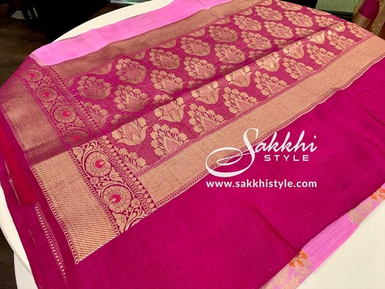 Pink and Dark Pink Tussar Silk Saree