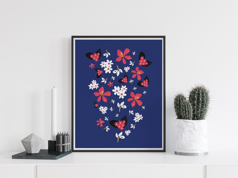 Colourful floral wall art Flower print Modern digital print image 0