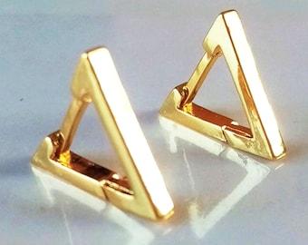 Golden Triangular Earrings, Triangle Earrings, Triangle Gold Earrings