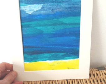 Abstract Acrylic Painting on paper - Original art - Mounted - Unframed