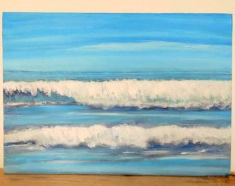 Acrylic canvas painting - original design - seascape - abstract art - block canvas- gift