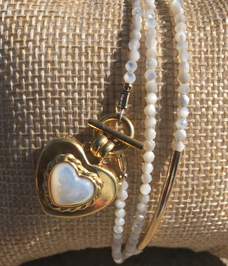 Mother of Pearl Wrap Bracelet with 14kt Gold Heart
