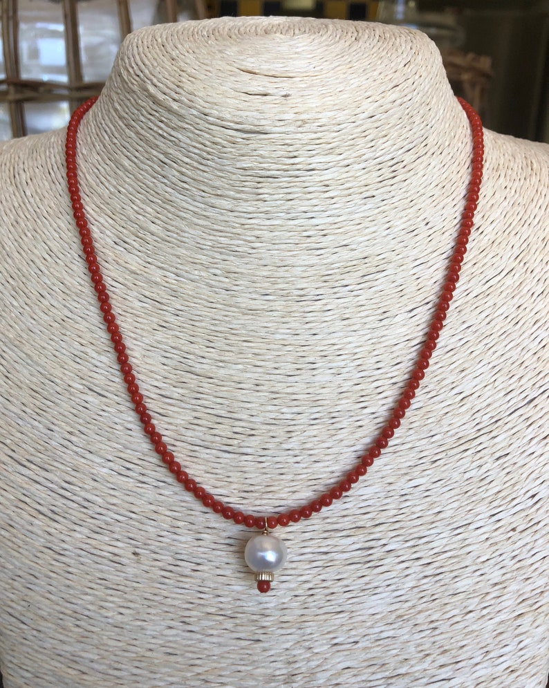 Coral and Pearl Red Sea Pearl Necklace