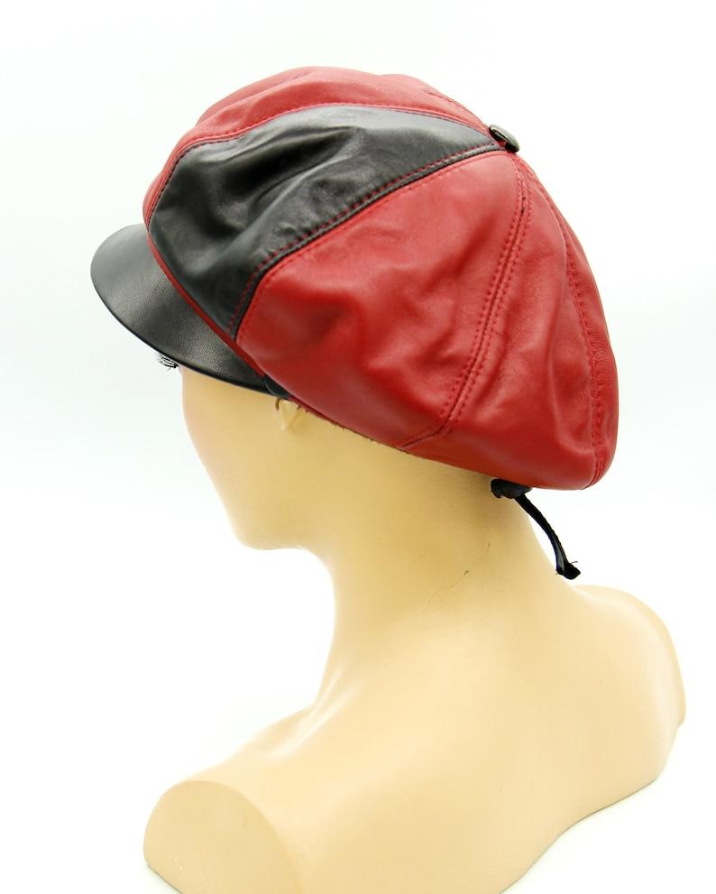 Women/'s newsboy cap women baker boy cap women cap genuine leather cap leather cap newsboy cap women. red cap