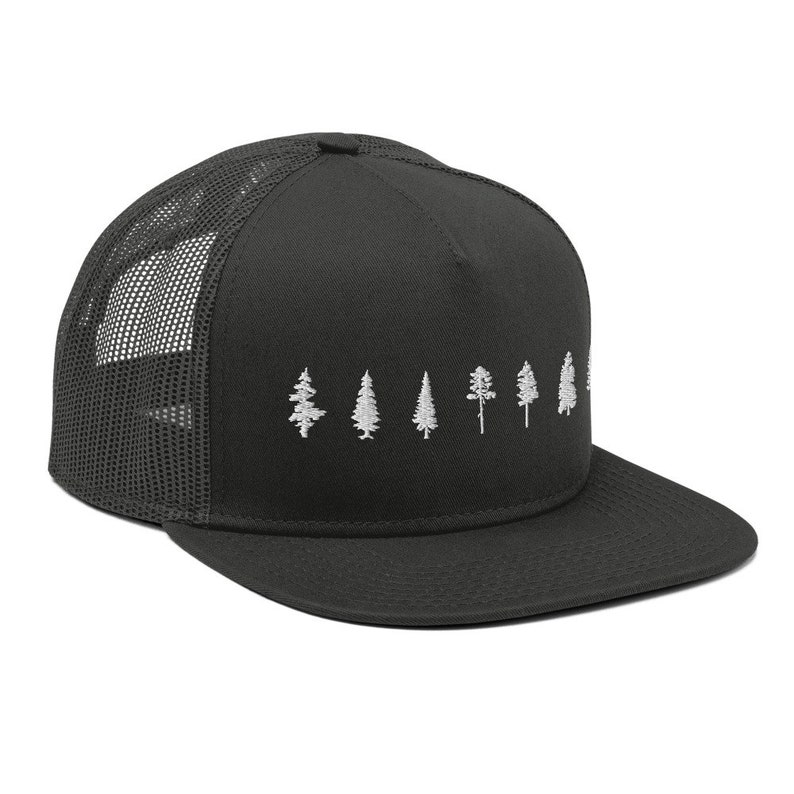 Trees Embroidered Pine Tree Fir Tree Spruce Tree Ball Cap Nature Mesh Back Snapback Forest