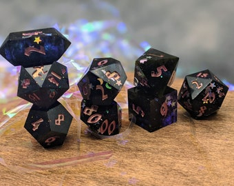Peach Alphabet and Copper Sharp Edge Dice Set,for RPGs Dungeons and Dragons Pathfinder D/&D Roleplaying