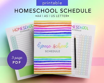 Home School Schedule for Kids - Printable Daily Home School Routine- School Schedule at Home, Homework Organiser,