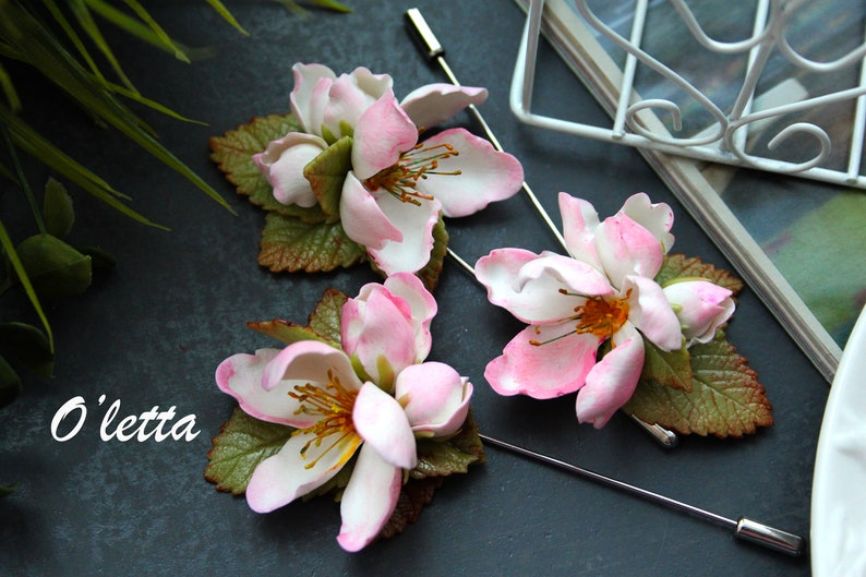 Apple blossom brooch pin Polymer clay flowers Beautiful brooch bouquet.