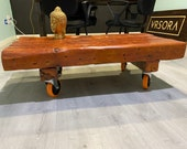 Industrial style coffee table with reclaimed wood